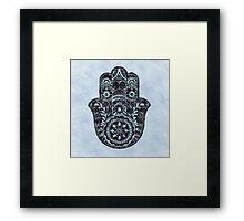 Watercolor Blue Hamsa Framed Print