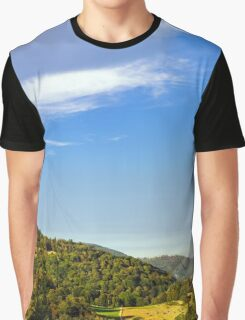 Colorful sunset over the hills in Alsace, wide panoramic landscape Graphic T-Shirt