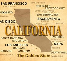 antique California State Pride Map  by KWJphotoart