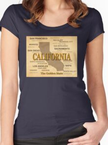 antique California State Pride Map  Women's Fitted Scoop T-Shirt