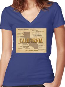 antique California State Pride Map  Women's Fitted V-Neck T-Shirt