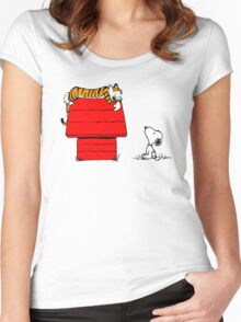 SNOOPY VS HOBBES Women's Fitted Scoop T-Shirt