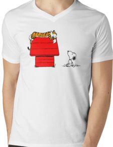 SNOOPY VS HOBBES Mens V-Neck T-Shirt