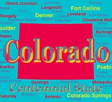 Colorful Colorado State Pride Map Silhouette  by KWJphotoart