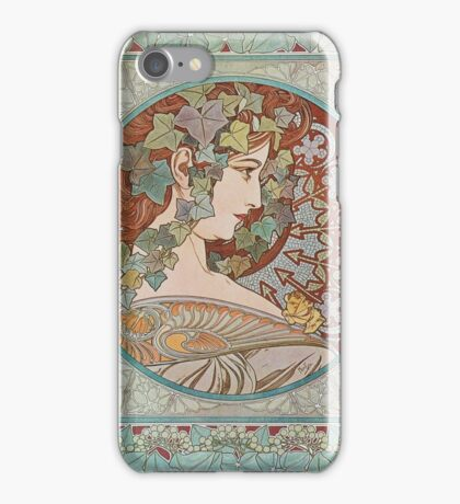 Alphonse Mucha - Ivy, 1901  iPhone Case/Skin