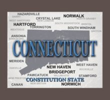 Aged Connecticut State Pride Map One Piece - Short Sleeve