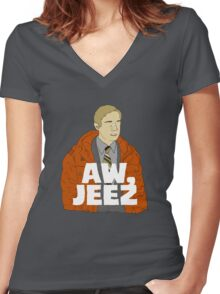 Aw, Jeez. Women's Fitted V-Neck T-Shirt