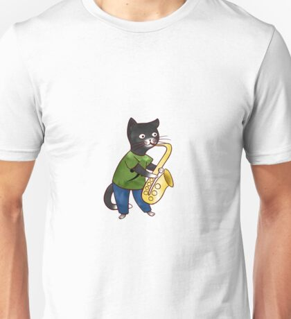 Jazzy Boy Kitten Playing Saxophone Unisex T-Shirt