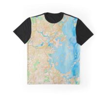 Water color map of Boston bay Graphic T-Shirt