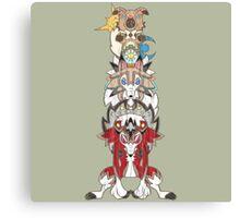 Rockruff Evolution Totem Pole Canvas Print