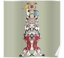 Rockruff Evolution Totem Pole Poster