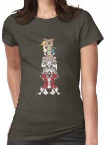 Rockruff Evolution Totem Pole Womens Fitted T-Shirt