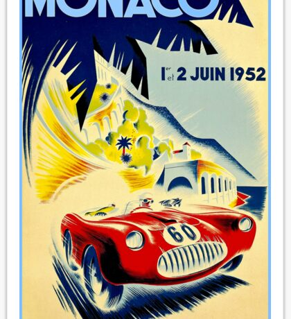 MONACO GRAND PRIX; Vintage Auto Racing Print Sticker