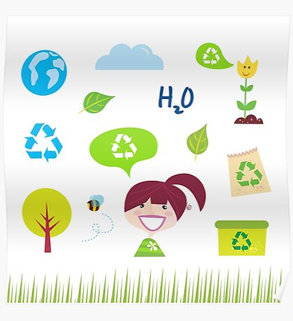 Recycle, nature and ecology icons isolated on white background Poster