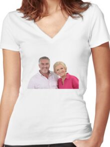 Paul Hollywood #3 w/ Mary Berry  Women's Fitted V-Neck T-Shirt