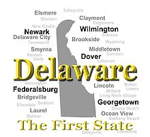 Delaware State Pride Map Silhouette  by KWJphotoart