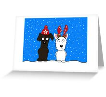 Black Schnoodle & Westie Greeting Card