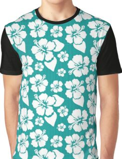 Tropical White Hibiscus Blooms on Turquoise Stripes Graphic T-Shirt