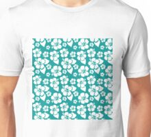 Tropical White Hibiscus Blooms on Turquoise Stripes Unisex T-Shirt