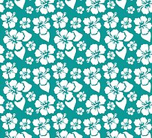 Tropical White Hibiscus Blooms on Turquoise Stripes by Elaine Plesser