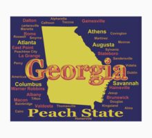 Colorful Georgia State Pride Map Silhouette  Kids Clothes