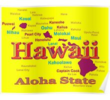 Colorful Hawaii State Pride Map Silhouette  Poster
