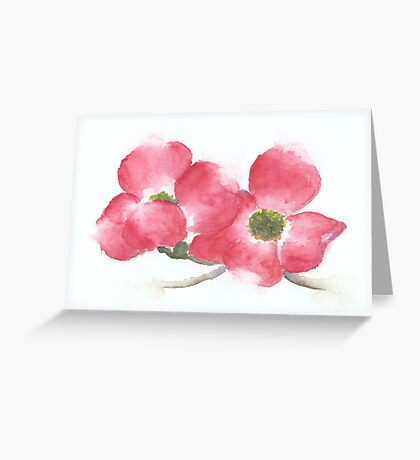 Red Dogwood Flowers in Watercolor Greeting Card