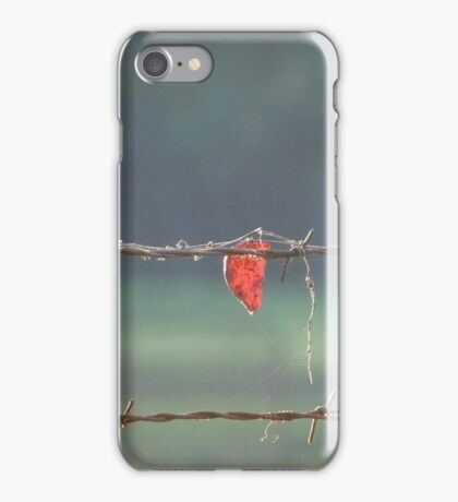 Leaf on a Barbed Wire Fence iPhone Case/Skin