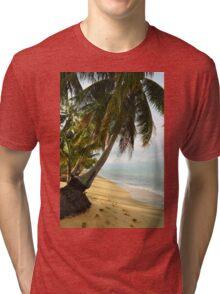 tropical beach with coconut palm trees Tri-blend T-Shirt