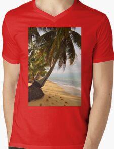 tropical beach with coconut palm trees Mens V-Neck T-Shirt