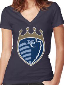Kansas City Sports Mashup Women's Fitted V-Neck T-Shirt