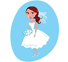 Beautiful Bride in white wedding dress isolated on blue Photographic Print