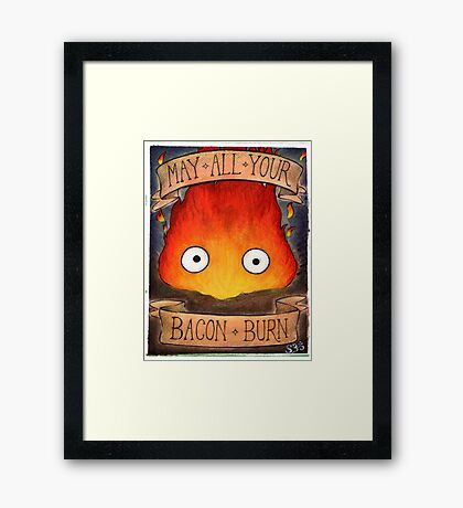 Howl's Moving Castle Illustration - CALCIFER (original)  Framed Print