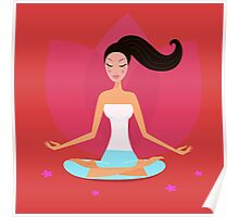 Yoga girl in lotus position isolated on red background Poster