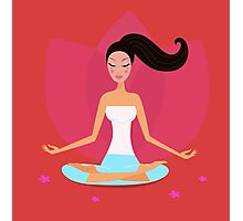 Yoga girl in lotus position isolated on red background Photographic Print