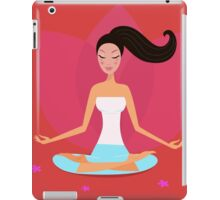 Yoga girl in lotus position isolated on red background iPad Case/Skin