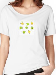 Funny green Apple fruit characters Women's Relaxed Fit T-Shirt