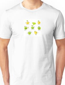 Funny green Apple fruit characters Unisex T-Shirt