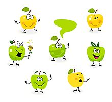 Funny green Apple fruit characters Photographic Print