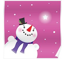 Happy snowman looking at the snow and christmas star Poster