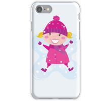 Happy blond girl making angel in snow iPhone Case/Skin