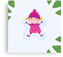 Happy blond girl making angel in snow Canvas Print