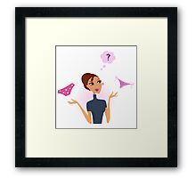 Woman with hard decision: classic or string thong Framed Print