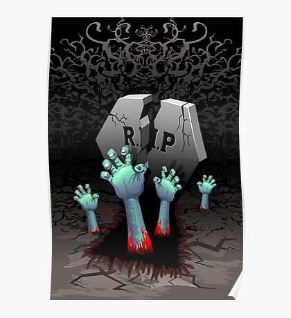 Zombie Hands on Cemetery Poster
