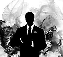 Smokey Silhouette Man Photographic Print
