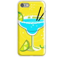Blue Margarita: Retro cocktail icon on yellow background iPhone Case/Skin