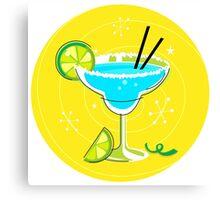 Blue Margarita: Retro cocktail icon on yellow background Canvas Print