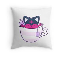 Litten Tea ニャビー // White Throw Pillow