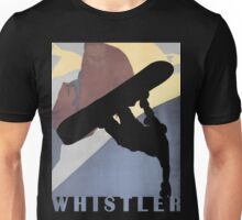 Snowboarding Dude Whistler Blackcomb winter sport travel poster Unisex T-Shirt