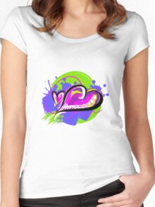 Purple-ish Heart [4] Women's Fitted Scoop T-Shirt